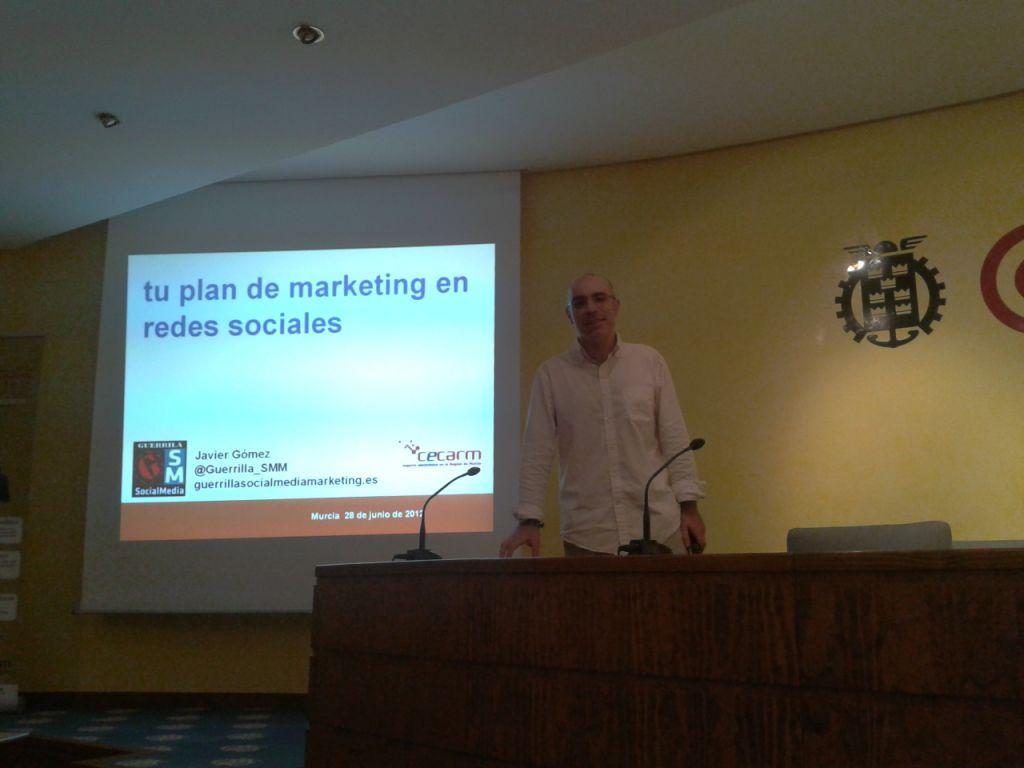 social media murcia javier gomez  Javier Gómez ponente en los talleres CECARM 2013 formacion conferencias